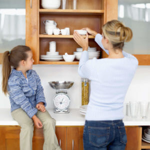 Putting Dishes Away in Cabinets
